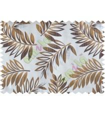 Brown beige silver color elegant leaf pattern poly main curtains design - 104539