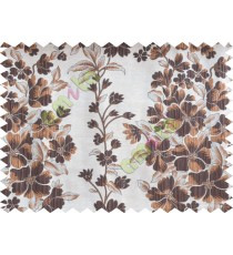 Brown beige silver color seamless floral pattern with poly thick fabric curtains design - 104540
