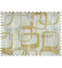 Gold beige silver color retro square pattern with thick fabric poly main curtains design - 104541