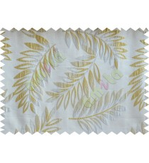 Gold silver beige color elegant leaf pattern poly main curtains design - 104544