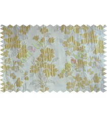 Gold silver beige color seamless floral pattern with poly thick fabric curtains design - 104545