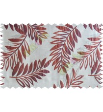 Maroon beige purple color elegant leaf pattern poly main curtains design - 104549