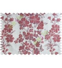 Maroon beige purple color seamless floral pattern with poly thick fabric curtains design - 104550