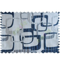 Blue white silver gold color retro square pattern with thick fabric poly main curtains design - 104560