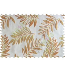 Orange beige gold color elegant leaf pattern poly main curtains design - 104568