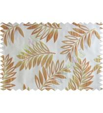 Orange beige gold color elegant leaf pattern poly main curtains design - 104568