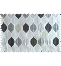 Black silver beige color moroccan pattern poly main curtains design - 104571