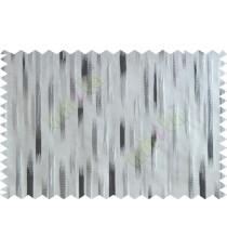 Black silver beige color semi vertical stripes poly main curtains design - 104572