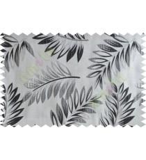 Black silver beige color elegant leaf pattern poly main curtains design - 104573