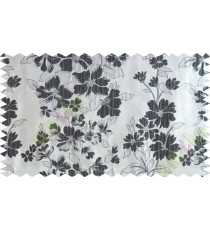 Black silver beige color seamless floral pattern with poly thick fabric curtains design - 104574