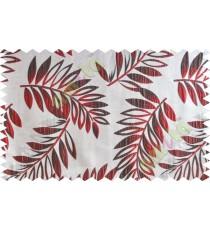 Maroon brown beige color elegant leaf pattern poly main curtains design - 104578