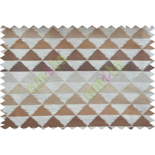 Brown Beige Geometric Triangle Design Poly Fabric Main Curtain-Designs
