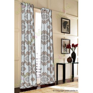 Brown Beige Damask Poly Fabric Main Curtain-Designs