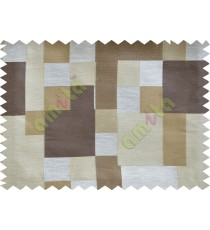 Brown Beige Placemat Blocks Poly Fabric Main Curtain-Designs