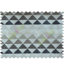 Black Beige Brown Geometric Triangle Design Poly Fabric Main Curtain-Designs