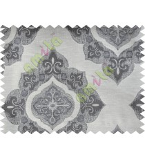 Black Beige Damask Poly Fabric Main Curtain-Designs