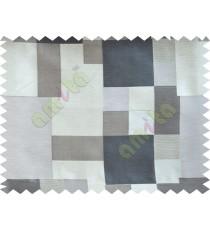 Black Beige Placemat Blocks Poly Fabric Main Curtain-Designs