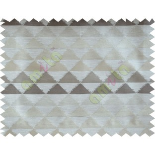 Beige Brown Cream Geometric Triangle Design Poly Fabric Main Curtain-Designs