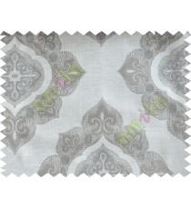 Beige Grey Damask Poly Fabric Main Curtain-Designs