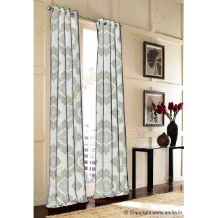 Beige Grey Damask Poly Fabric Main Curtain-Designs