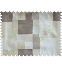 Beige Grey Placemat Blocks Poly Fabric Main Curtain-Designs