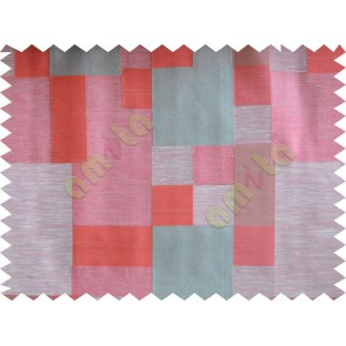 Blue Pink Beige Placemat Blocks Poly Fabric Main Curtain-Designs
