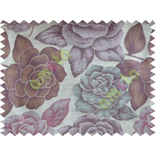 Purple Blue Beige Natural Shiny Rose Poly Fabric Main Curtain-Designs