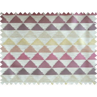 Purple Green Brown Geometric Triangle Design Poly Fabric Main Curtain-Designs