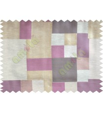Purple Brown Green Yellow Placemat Blocks Poly Fabric Main Curtain-Designs