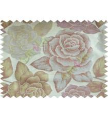 Green Cream Brown Natural Shiny Rose Poly Fabric Main Curtain-Designs