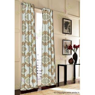 Yellow Green Brick Damask Poly Fabric Main Curtain-Designs