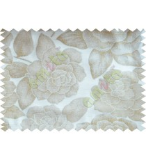 Beige Green Natural Shiny Rose Poly Fabric Main Curtain-Designs