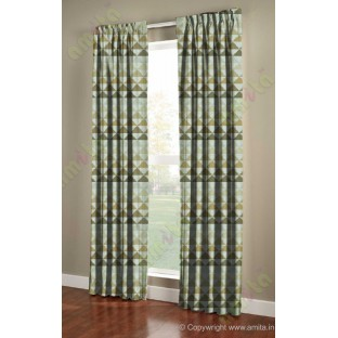 Yellow Green Beige Geometric Triangle Design Poly Fabric Main Curtain-Designs