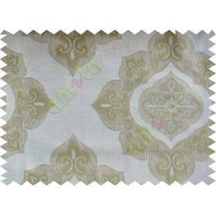 Yellow Green Beige Damask Poly Fabric Main Curtain-Designs