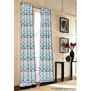 Blue Silver Black Geometric Triangle Design Poly Fabric Main Curtain-Designs