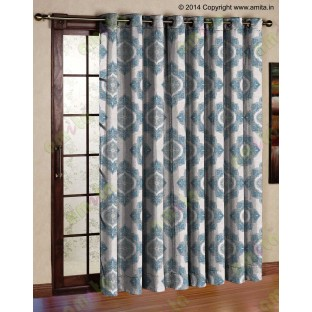 Blue Grey Damask Poly Fabric Main Curtain-Designs