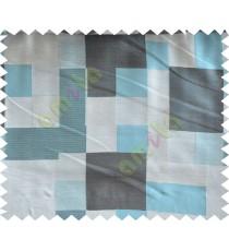 Blue Grey Black Placemat Blocks Poly Fabric Main Curtain-Designs