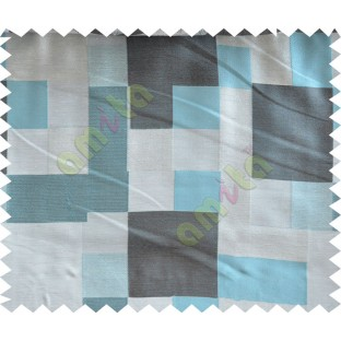 Blue Grey Black Placemat Blocks Poly Fabric Main Curtain-Designs