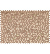 Brown gold color seamless natural leaf pattern with horizontal pencil stripes polycotton main curtain designs