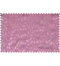 Pink color seamless natural leaf pattern with horizontal pencil stripes polycotton main curtain designs