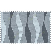 Black grey color vertical flowing waves with horizontal pencil stripes polycotton main curtain designs