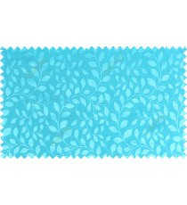Sky blue color seamless natural leaf pattern with horizontal pencil stripes polycotton main curtain designs
