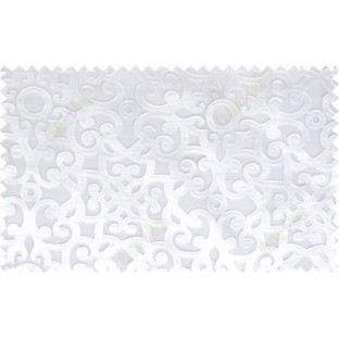 White color traditional design patchwork poly sheer curtain - 112476