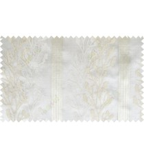White beige color twigs with stripes poly sheer curtain - 102477