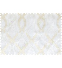 White beige color tamara trellis moroccan poly sheer curtain - 112478