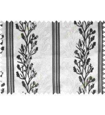 Black white beige color twigs with stripes poly sheer curtain - 102488