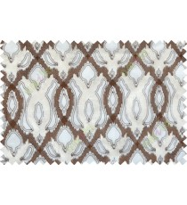 Brown beige color tamara trellis moroccan poly sheer curtain - 102499
