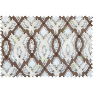 Brown beige color tamara trellis moroccan poly sheer curtain - 102499