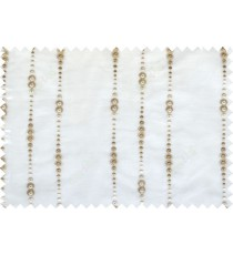 Beige white color vertical polka dot stripes poly sheer curtain - 112506