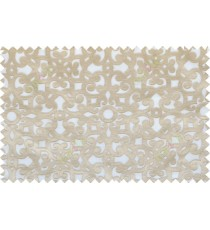 Beige white color traditional design patchwork poly sheer curtain - 112508